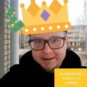Joulukalenteri luukku 13 voittaja Pauli J