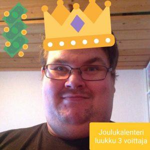 Joulukalenteri luukku 3 voittaja Simo V.
