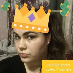 Joulukalenteri luukku 4 voittaja Milla P.